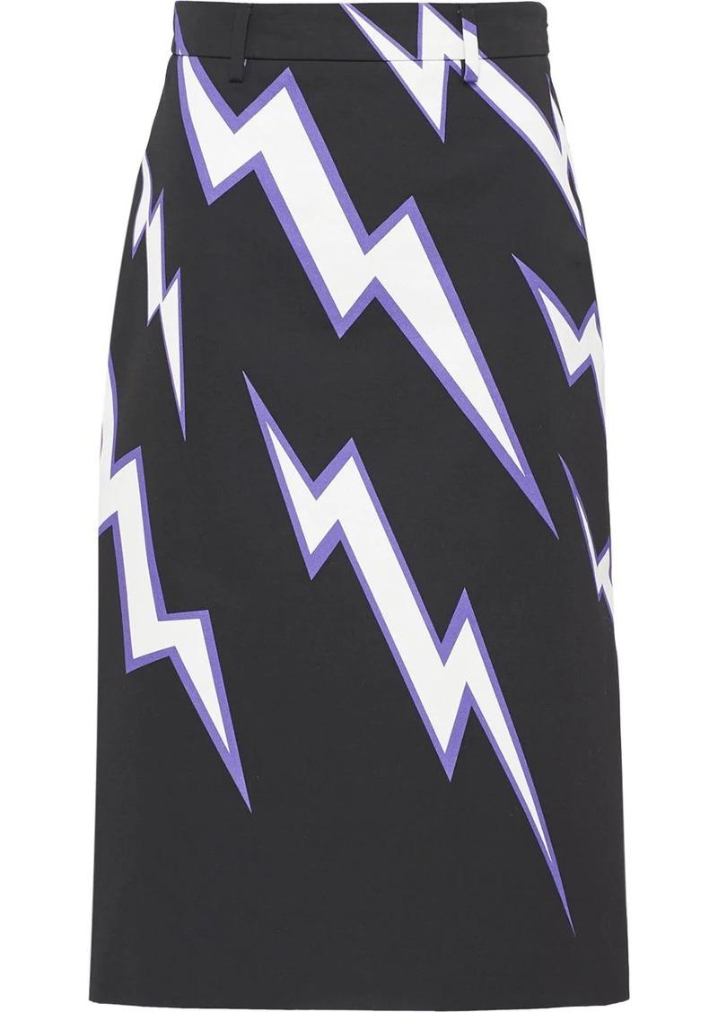 Prada lightning print skirt