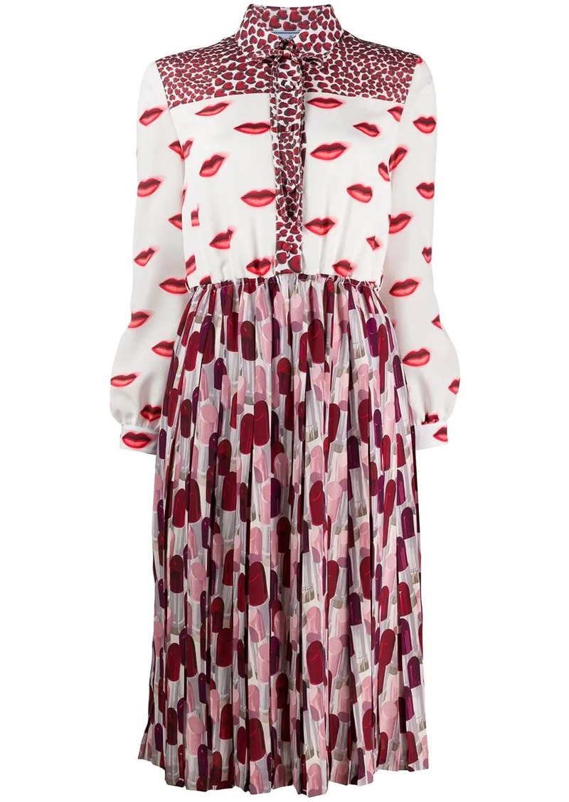 Prada lips and lipstick printed dress