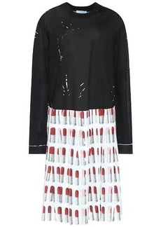 Prada Lipstick cotton and crêpe dress