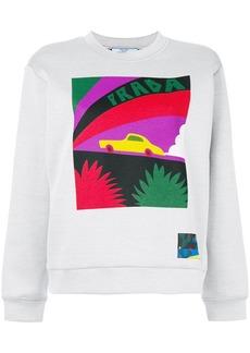 Prada logo car-print sweatshirt