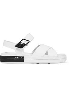 Prada Logo-embossed Rubber-trimmed Leather Sandals