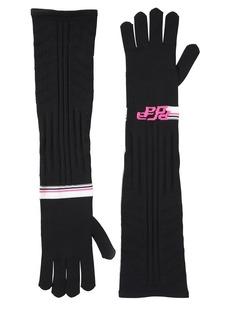 Prada Logo Intarsia Tech Knit Long Gloves