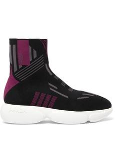 Prada Logo-jacquard Stretch-knit Sneakers