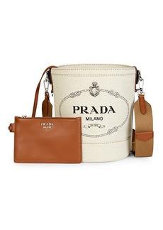 Prada Logo Leather-Trim Canvas Bucket Bag