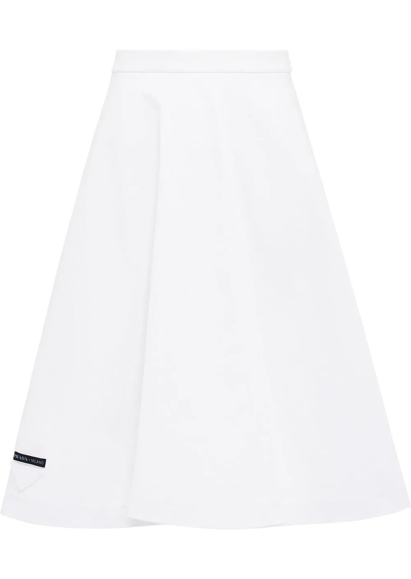 Prada logo patch jersey skirt