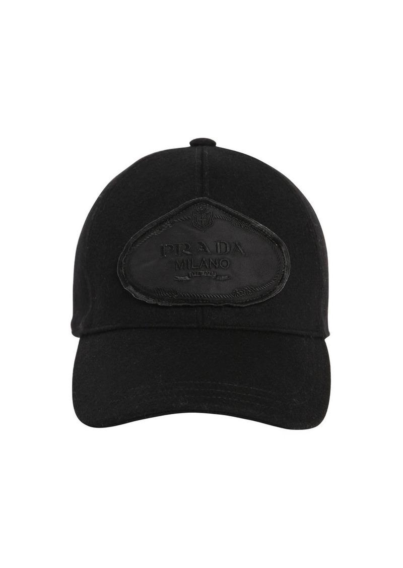 04a4ae6c339 Prada Logo Patch Wool Baseball Hat