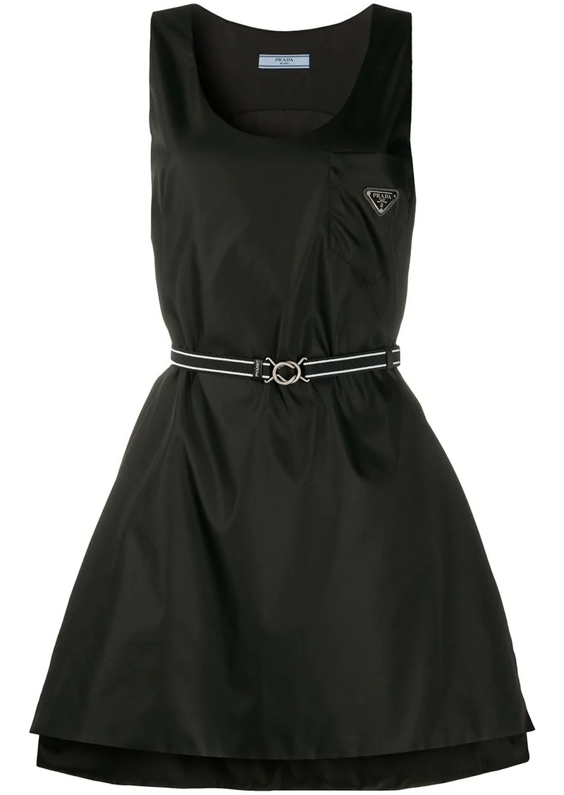 Prada logo plaque belted dress