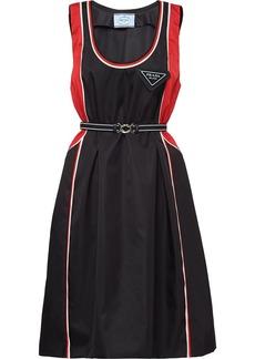 Prada logo plaque belted flared dress