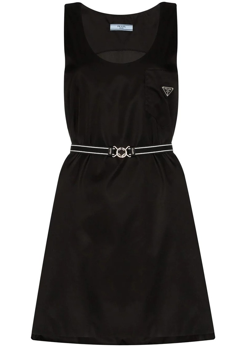 Prada logo plaque mini dress