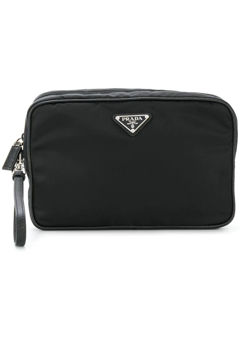 Prada logo plaque wash bag