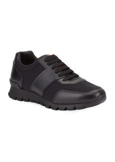 Prada Men's Lace-Up Leather Trainer Sneakers
