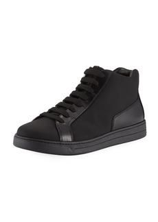 Prada Men's Leather Zip-Side High-Top Sneakers