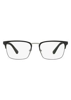 Men's Prada 55M Rectangle Optical Glasses - Matte Black