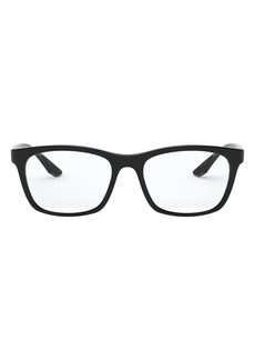 Men's Prada 55mm Square Optical Glasses - Black