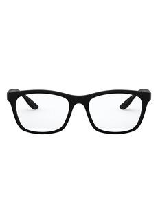 Men's Prada 55mm Square Optical Glasses - Black Rubber