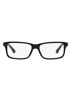 Men's Prada 56mm Rectangle Optical Glasses - Black