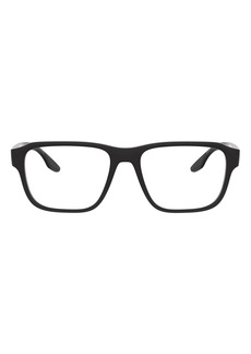 Men's Prada Linea Rossa 54mm Rectangular Optical Glasses - Shiny Black