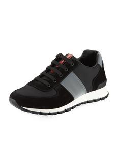 Prada Men's Suede & Leather Trainer Sneakers