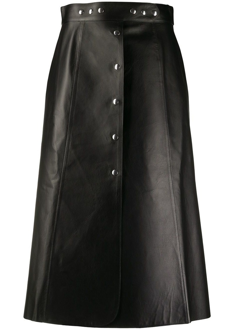 Prada midi leather skirt
