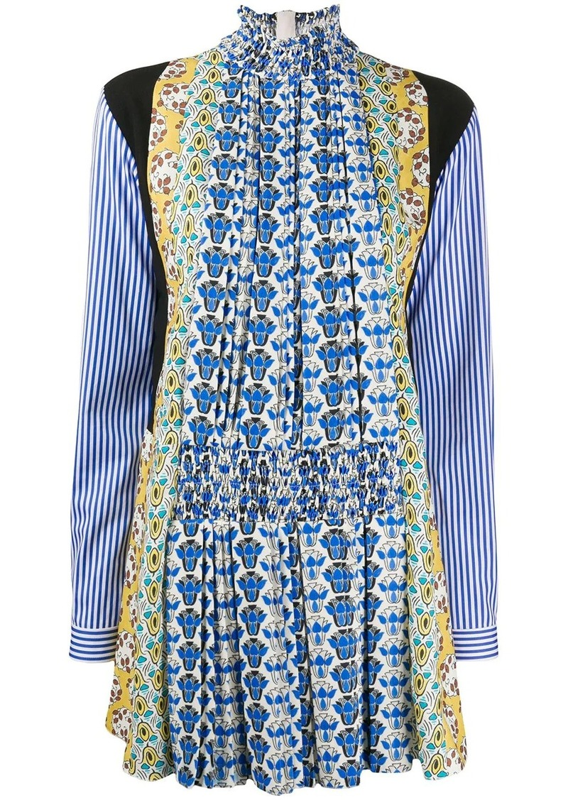 Prada multi-print shirt dress
