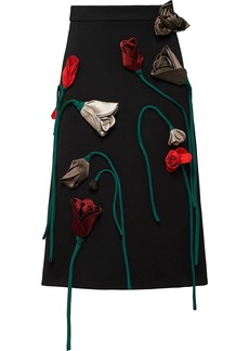 Prada Natté floral-appliqué gabardine skirt