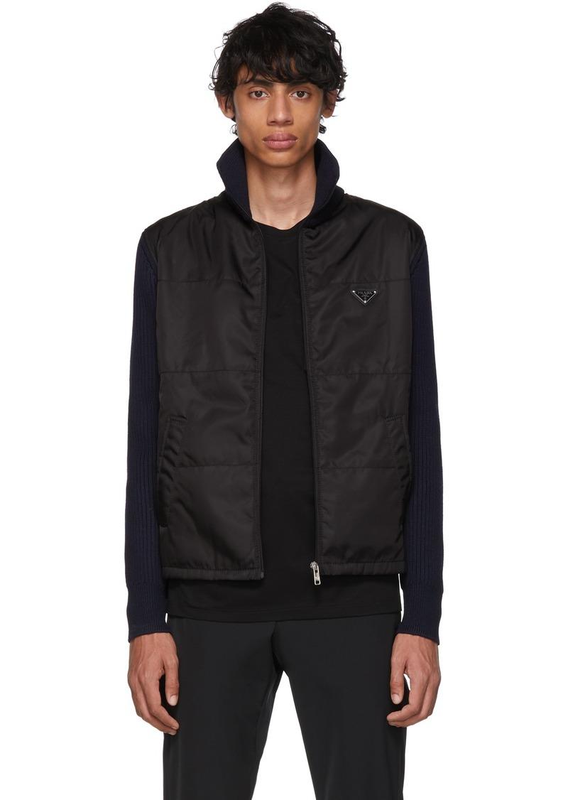 Prada Navy & Black Nylon Knit Jacket