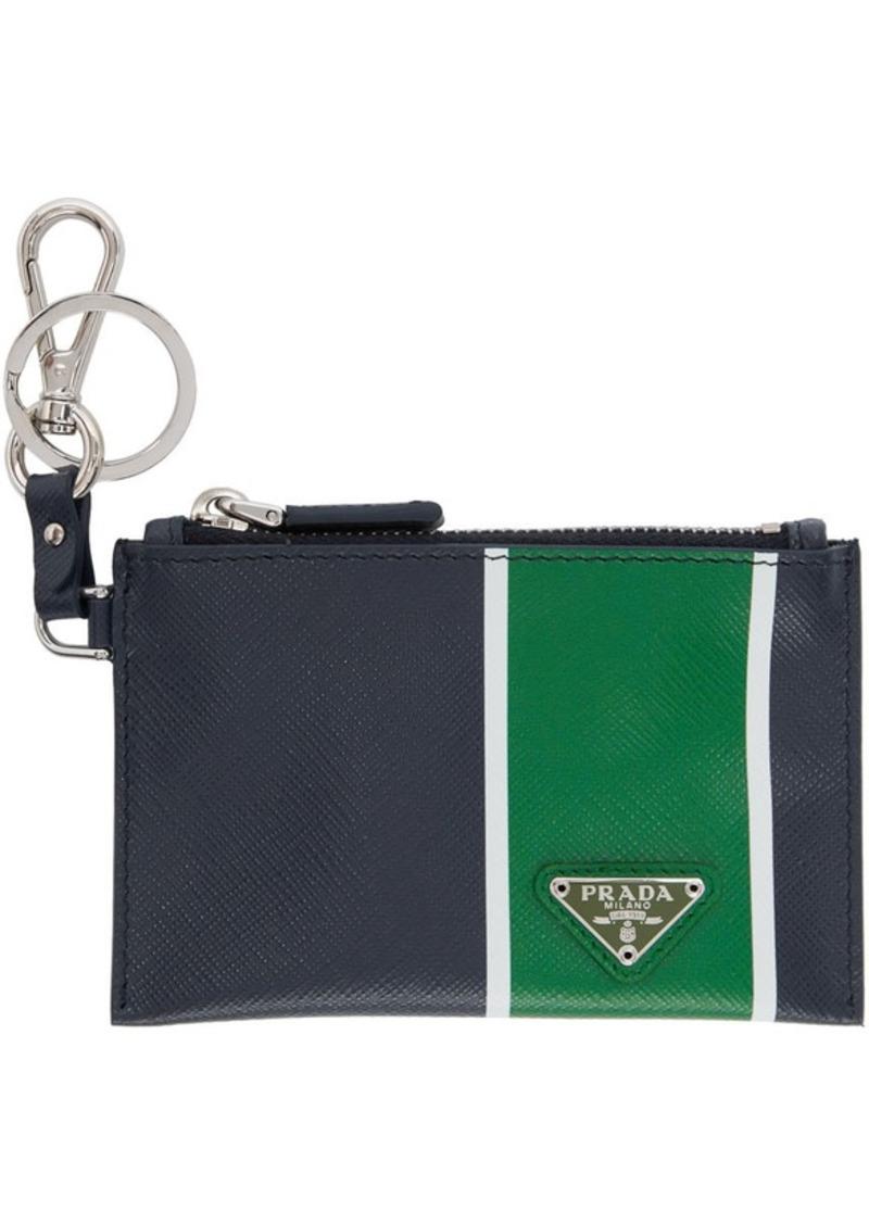 Prada Navy & Green Saffiano Zip Pouch Keychain