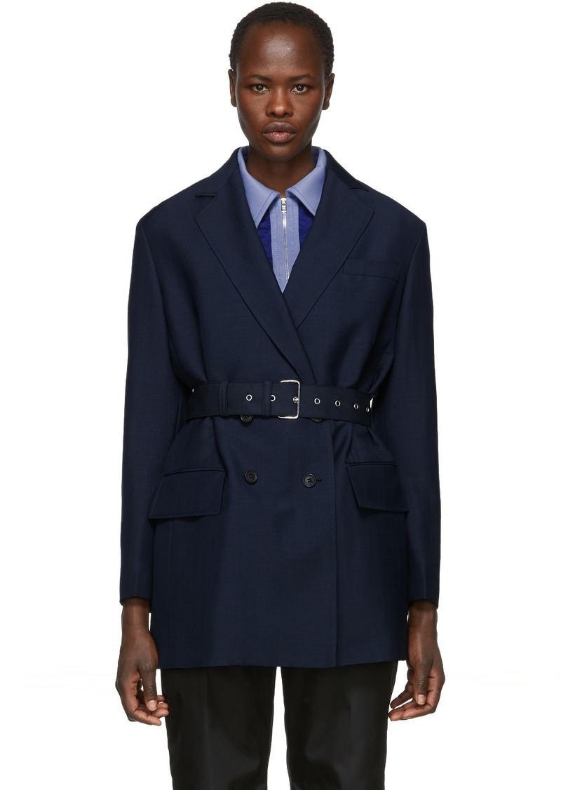 Prada Navy Double-Breasted Blazer