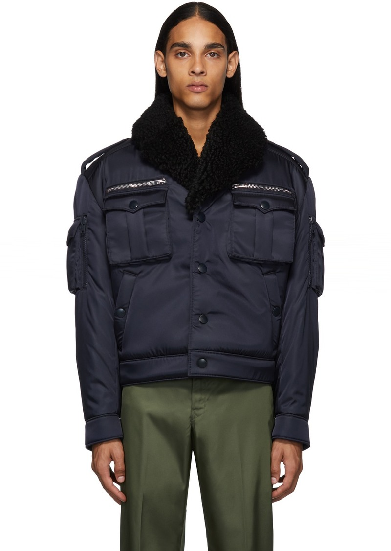 Prada Navy Shearling Field Bomber Jacket