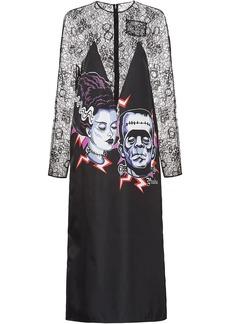 Prada Nylon gabardine and Chantilly lace dress
