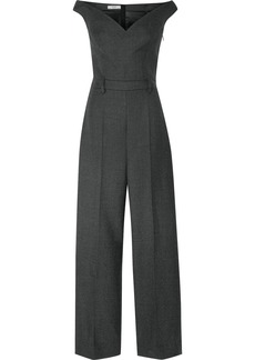 Prada Off-the-shoulder Checked Wool-blend Jumpsuit