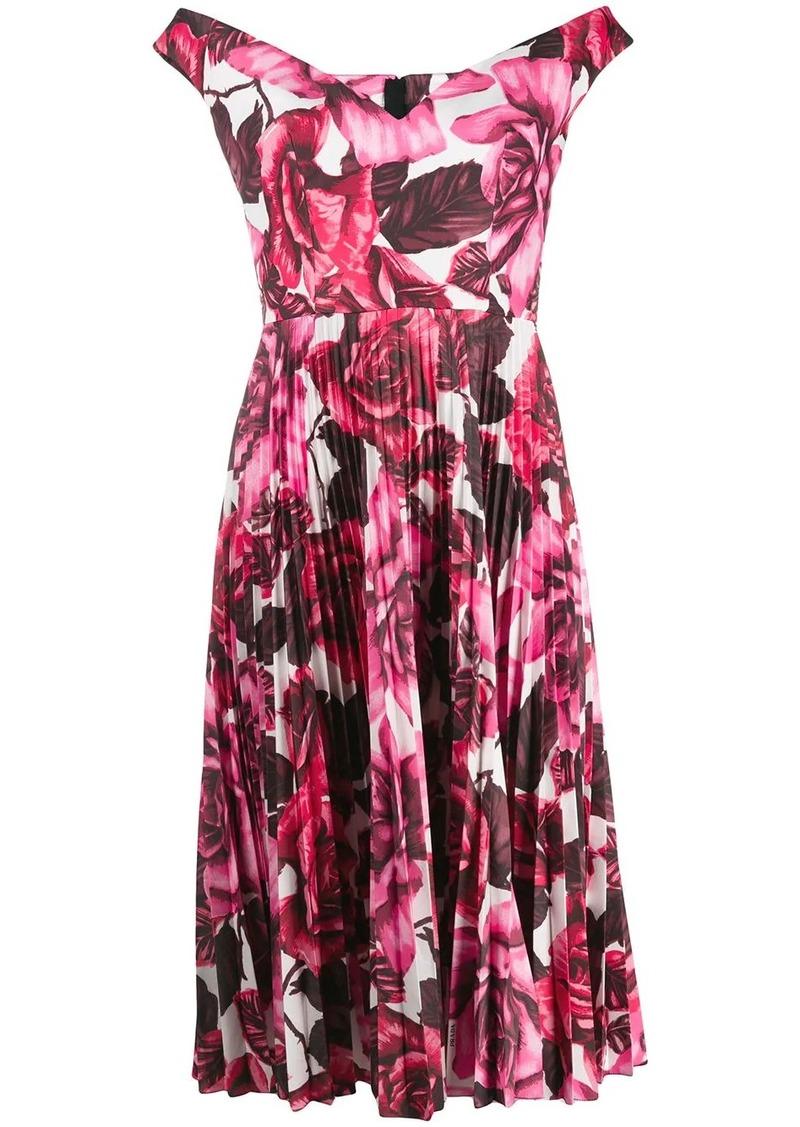 Prada off-the-shoulder floral print dress