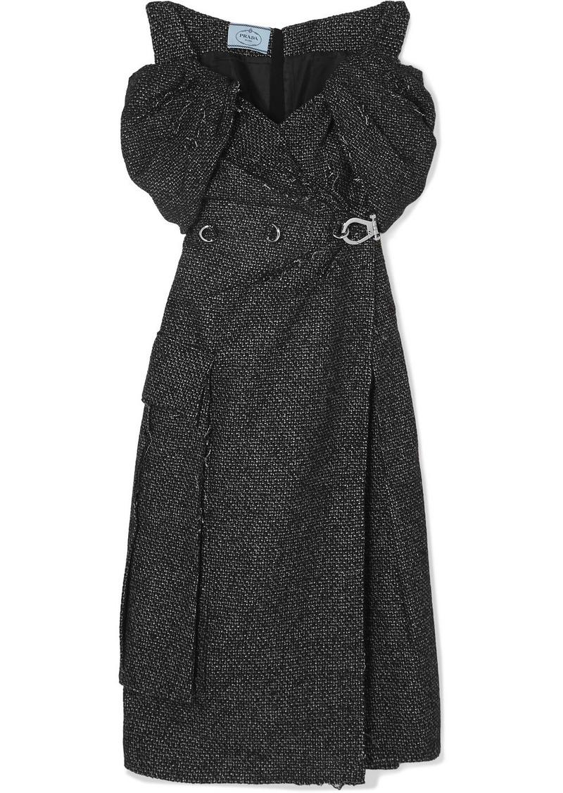 Prada Off-the-shoulder Ruched Embellished Wool-blend Tweed Midi Dress