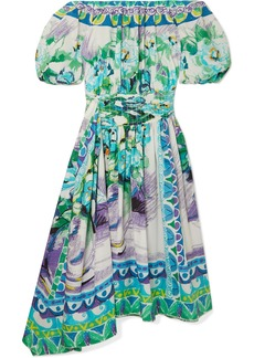 Prada Off-the-shoulder Shirred Printed Cotton-poplin Dress