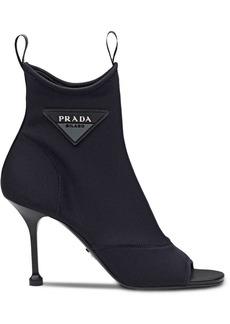 Prada open toe logo boots