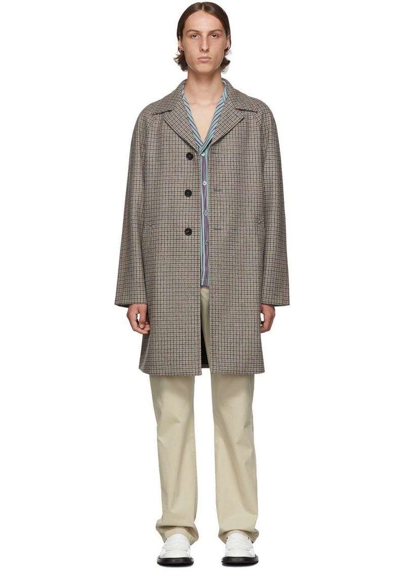 Prada Orange & Grey Virgin Tweed Coat