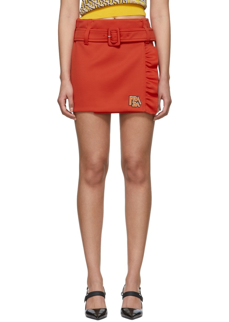 Prada Orange Logo Miniskirt