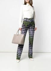 Prada Organza Flower print belted trousers