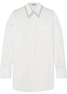 Prada Oversized Crystal-embellished Cotton-poplin Shirt