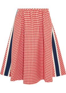 Prada Paneled Houndstooth Wool Skirt