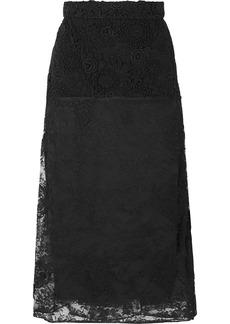 Prada Paneled Lace Midi Skirt