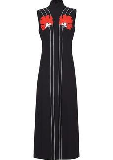 Prada peony-print sleeveless midi dress