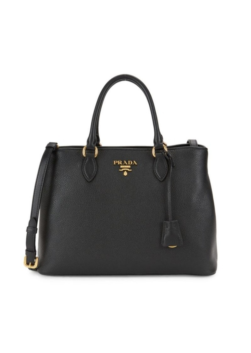 Prada Phenix Pebbled Leather Satchel