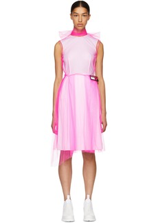 Prada Pink & White Poplin Mesh Overlay Dress