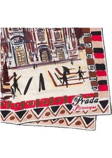 Prada Pittoresque Milan print foulard