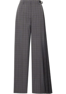 Prada Pleated Checked Wool-blend Wide-leg Pants