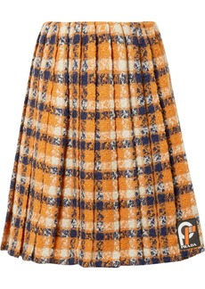 Prada Pleated Checked Wool-tweed Skirt