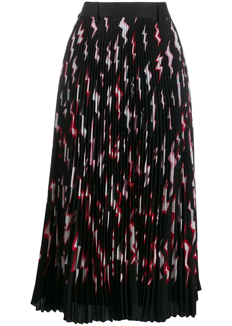Prada pleated lightning bolt skirt