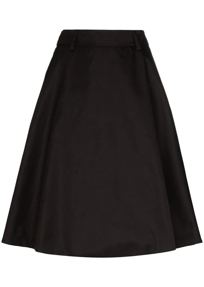 Prada pleated logo plaque skirt