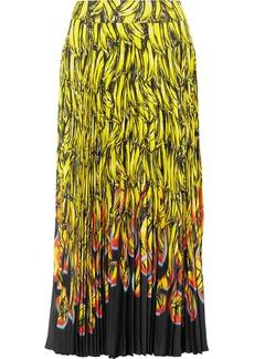 Prada Pleated Printed Crepe De Chine Midi Skirt